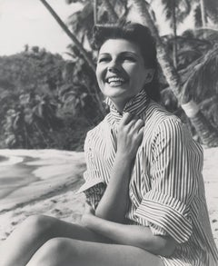 Rita Hayworth Smiling on the Beach Fine Art Print