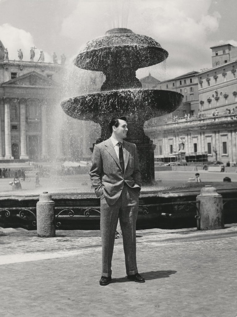 Unknown Black and White Photograph - Rock Hudson at St. Peter's Basilica Fine Art Print