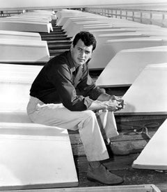 Rock Hudson Sitting on Dock Globe Photos Fine Art Print