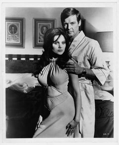 """Roger Moore and Madeline Smith photographed at the set of """"Live and Let Die"""""""