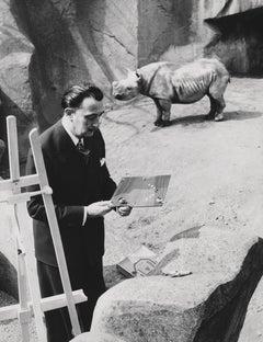 Salvador Dali with Rhinos Fine Art Print