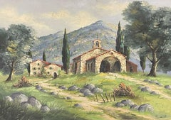 SIGNED FRENCH IMPRESSIONIST VINTAGE OIL - PROVENCAL LANDSCAPE WITH OLD CHURCH