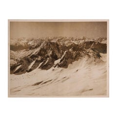Snowy Mountains Black and White Landscape Photograph