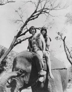 Sonny and Cher Riding an Elephant Fine Art Print