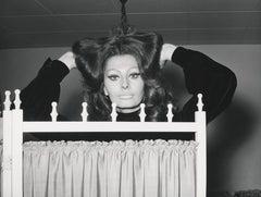 Sophia Loren Behind Folding Screen Fine Art Print