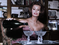 Sophia Loren Pouring Champagne Colorized Fine Art Print