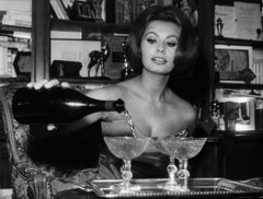 Sophia Loren Pouring Champagne on New Year's Eve Globe Photos Fine Art Print