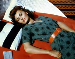 Sophia Loren Sunbathing in Color Globe Photos Fine Art Print