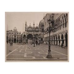 St. Mark's Square Venice Plaza Black and White Photograph