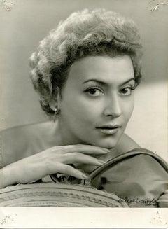 Studio Portrait of Nilla Pizzi - B/w Photo - 1950s