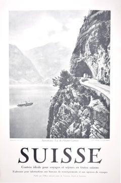 Suisse - Axenstrasse Wehrli Lake Steamer c. 1925 Swiss original photo poster