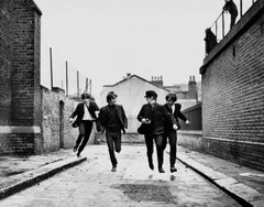 The Beatles Running in Hard Days Night Globe Photos Fine Art Print