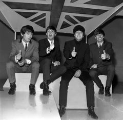 The Beatles Smiling with Thumbs Up Globe Photos Fine Art Print