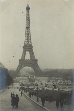 The Eiffel Tower in Paris 1927 - Silver Gelatin Black and White Photograph