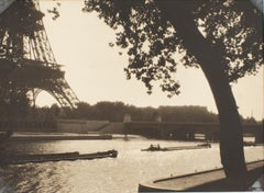The River Seine and the Eiffel Towel Paris  - Silver Gelatin B and W Photograph