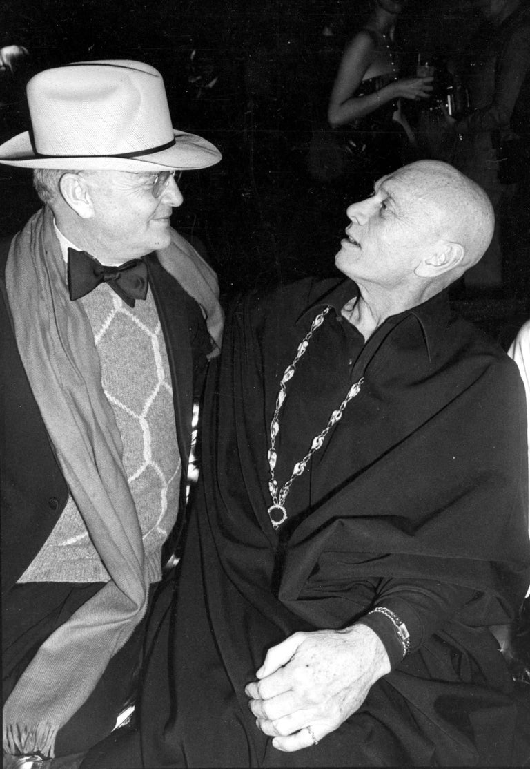 Unknown Black and White Photograph - Truman Capote and Yul Brynner at Studio 54 Fine Art Print
