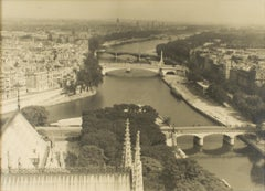 View from Notre Dame de Paris Cathedral 1950 - Silver Gelatin B and W Photograph