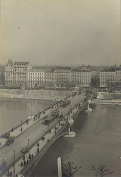 View of a bridge in Lyon, France 1927 - Silver Gelatin Black & White Photograph
