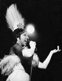 Vintage Photo of Josephine Baker While Singing - Late 1960s