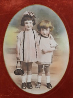 Vintage Photograph of Two Children Sepia toned Hand Coloured