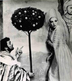 Vintage Portrait of Monica Vitti along with Tony Curtis-Vintage B/W photo -1960s