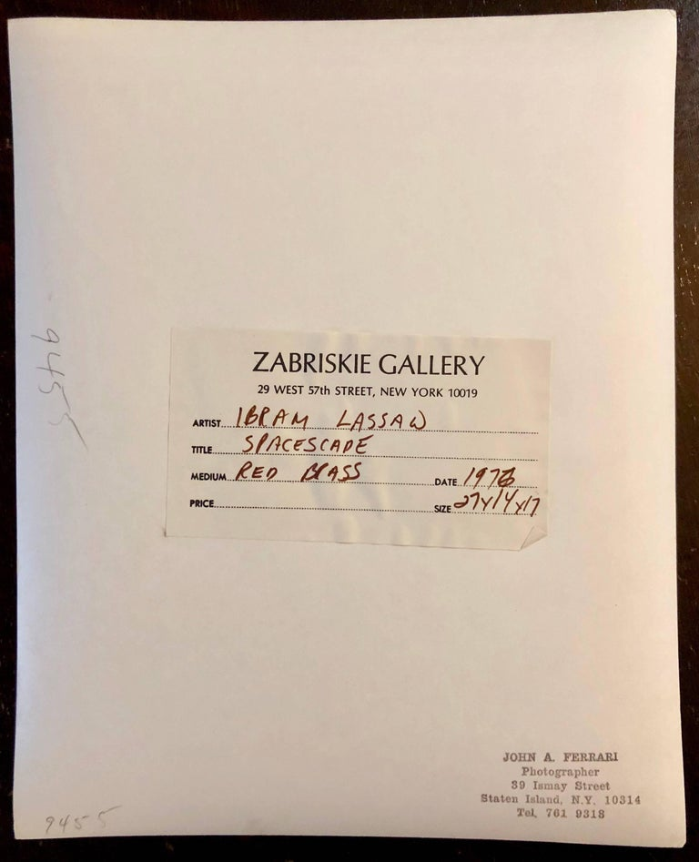 This is from the photogrpaher John A. Ferrari he shot work for Eva Hesse, Robert Mangold, Ronald Bladen and Sol Lewitt. It bears his stamp and label from Zabriskie Gallery.  This is for the original vintage photograph. I believe the inscription is