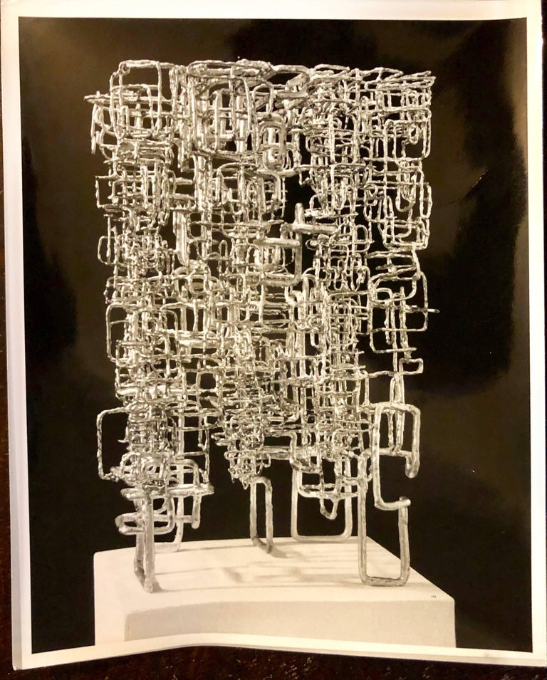 Unknown Black and White Photograph - Vintage Silver Gelatin Photo of Ibram Lassaw Modernist Sculpture (Photograph)