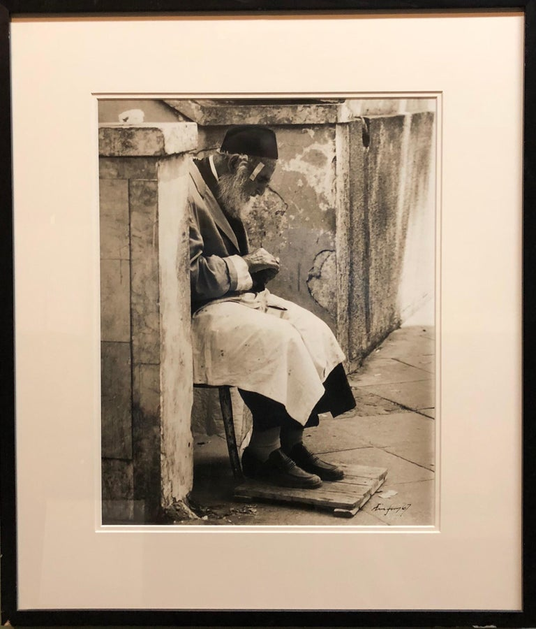 Vintage Silver Gelatin Signed Print Old Jew in Jerusalem Pious Craftsman - Photograph by Unknown