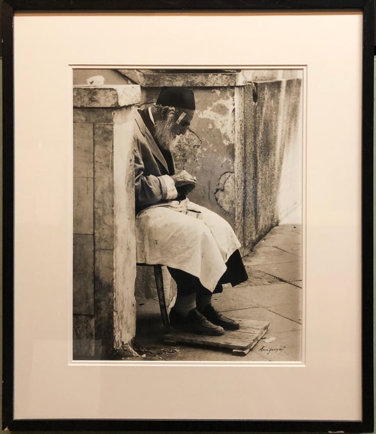 Vintage Silver Gelatin Signed Print Old Jew in Jerusalem Pious Craftsman - Realist Photograph by Unknown