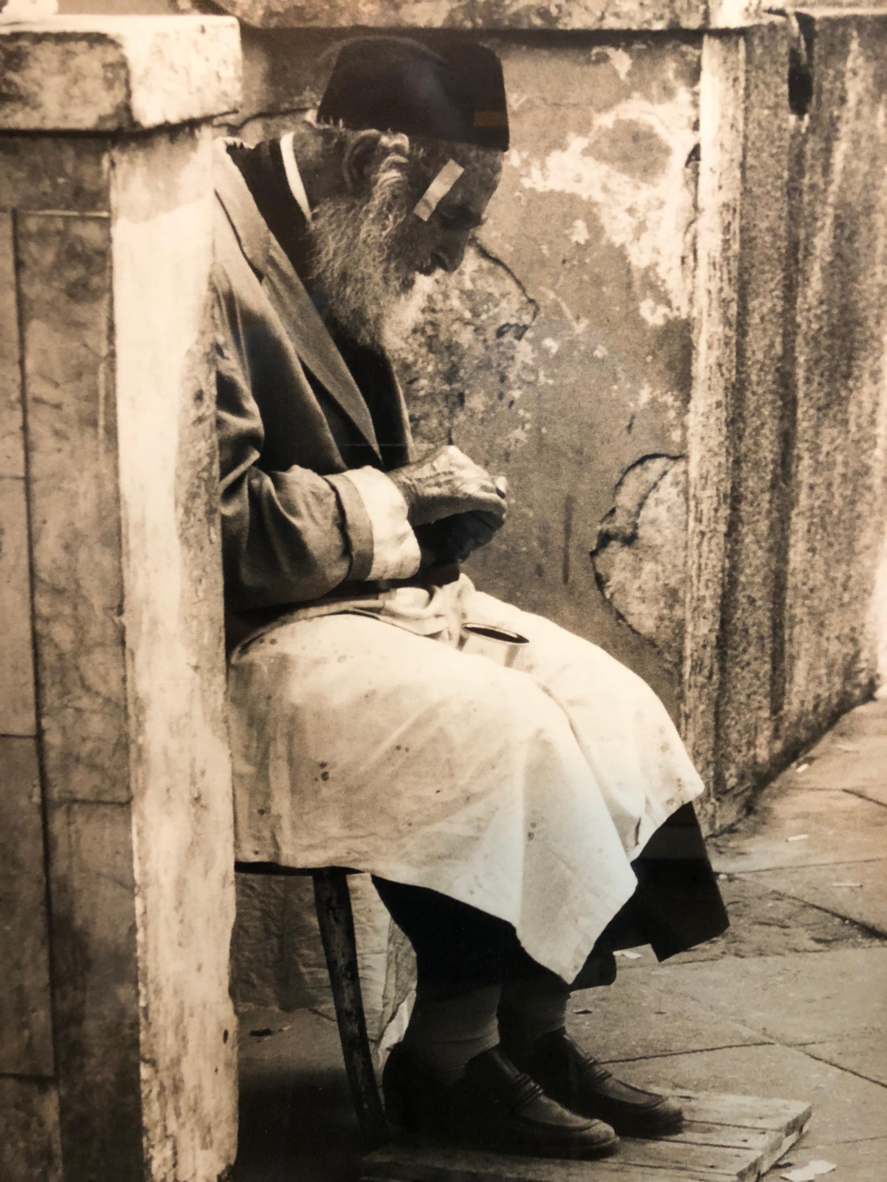 Vintage Silver Gelatin Signed Print Old Jew in Jerusalem Pious Craftsman