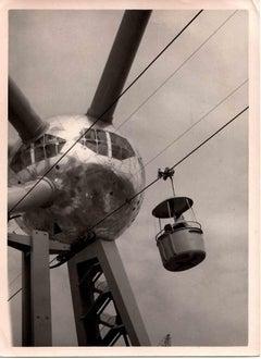 Vintage Tele cabin, Historical Documentary Photograph - Vintage B/W photo-1960s