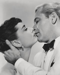William Holden and Audrey Hepburn Iconic Kiss Fine Art Print