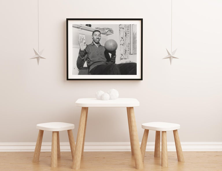 Wilt Chamberlain with Basketball Fine Art Print For Sale 2