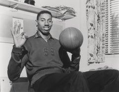 Wilt Chamberlain with Basketball Fine Art Print
