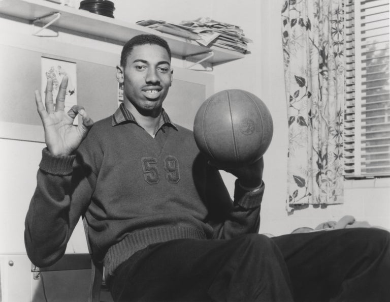 Unknown Black and White Photograph - Wilt Chamberlain with Basketball Fine Art Print