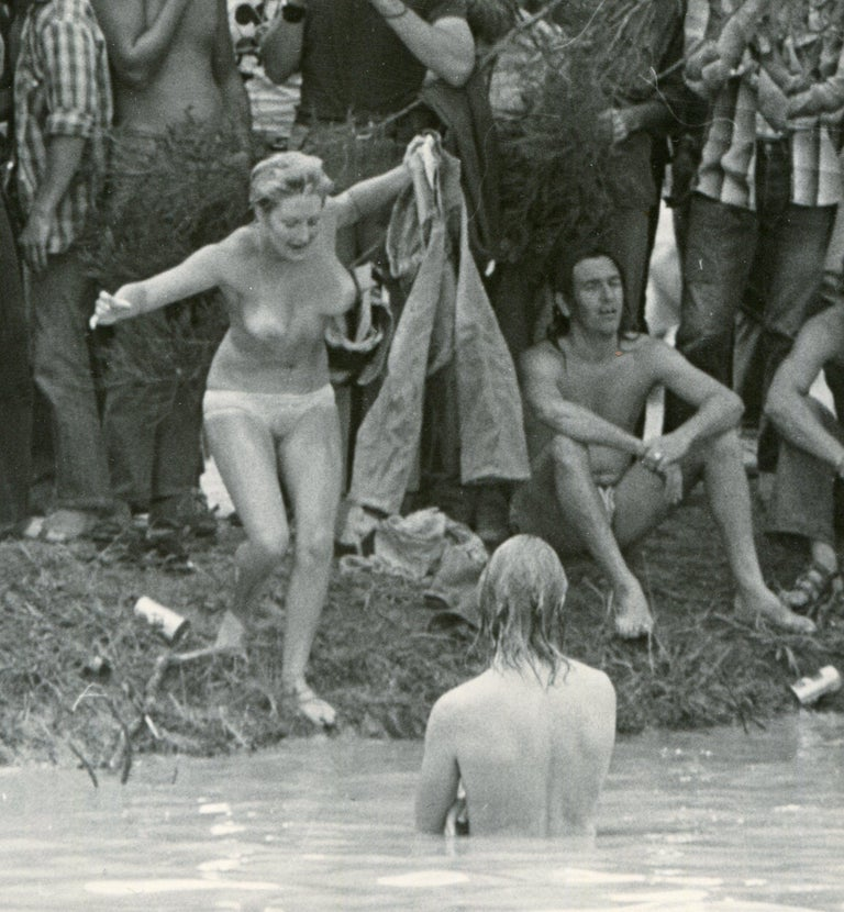 Woodstock, Visitors - Gray Black and White Photograph by Unknown