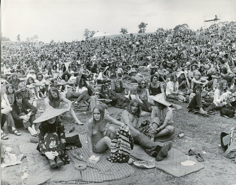 Unknown Black and White Photograph - Woodstock, Visitors