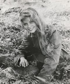 Young Brigitte Bardot Smiling in the Grass Fine Art Print