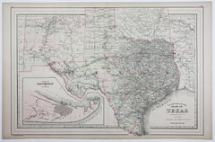 1886 Lithograph Map of Texas by William Bradley & Bros.