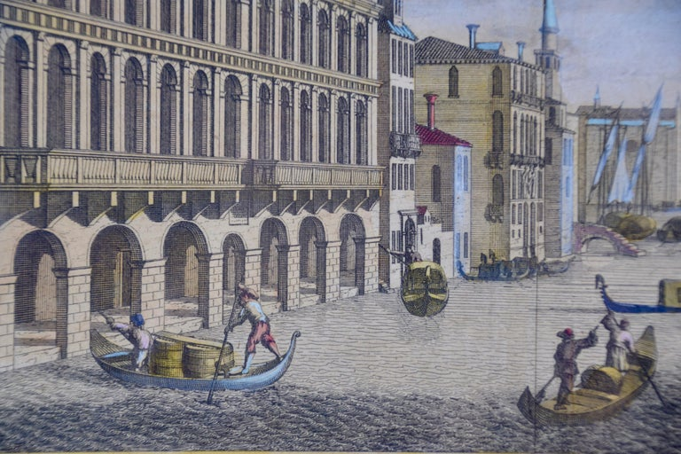 View of Venice, including Gondolas, 18th Century Hand Colored Engraving  - Print by Pieter Van Der Aa
