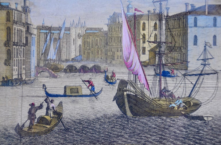 View of Venice, including Gondolas, 18th Century Hand Colored Engraving  - Old Masters Print by Pieter Van Der Aa