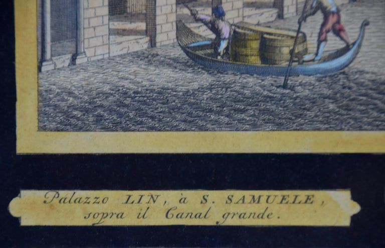 View of Venice, including Gondolas, 18th Century Hand Colored Engraving  For Sale 1