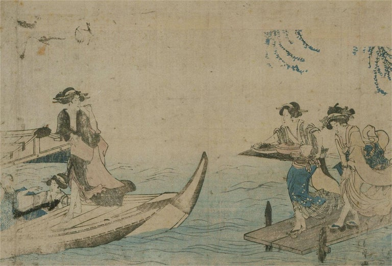 18th Century Japanese Woodblock - Lunch On The Water - Print by Unknown