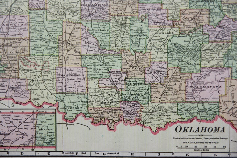 1909 Double-Sided Map of Texas and Oklahoma by The George F. Cram Company For Sale 3