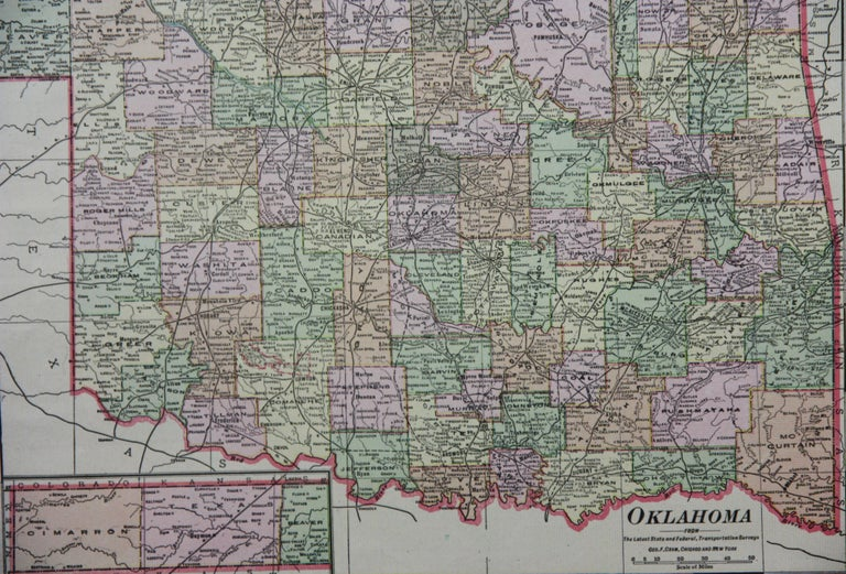 1909 Double-Sided Map of Texas and Oklahoma by The George F. Cram Company For Sale 4