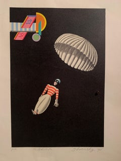 """1925 """"Paratrooper"""" Lithograph on Wove Paper"""