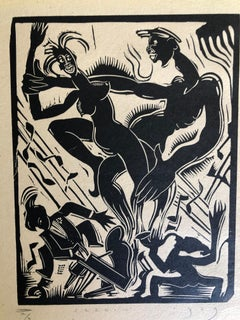 "1929 African American Woodcut  ""Jazz"""