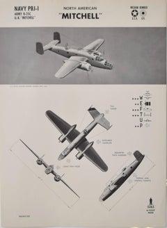 1942 B-25 Mitchell bomber aeroplane recognition poster World War II 2