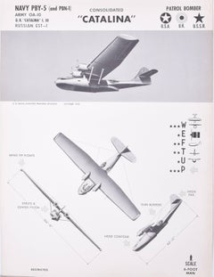 1942 Consolidated PBY Catalina aeroplane recognition poster World War II 2 Navy