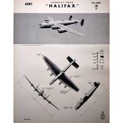 1942 Handley-Page Halifax Heavy Bomber RAF aeroplane identifcation poster ww2